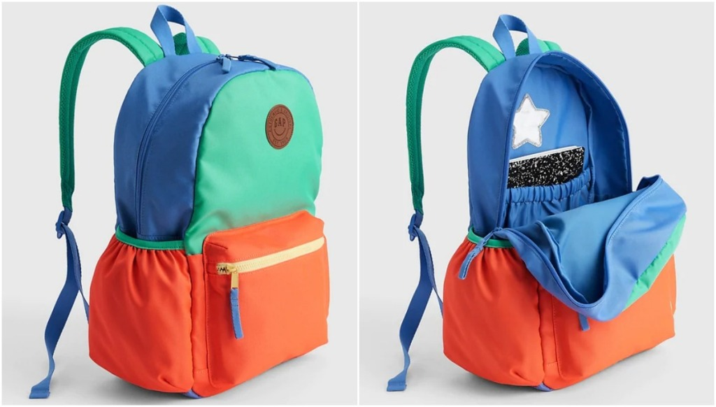 blue, mint green and orange colorblock backpack