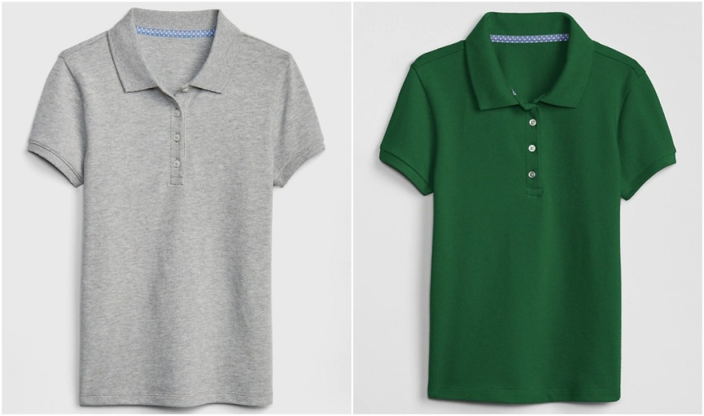 gray and green kids uniform polos