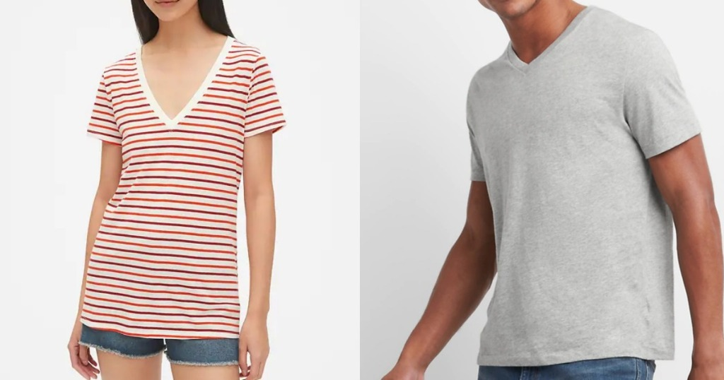 woman and man wearing Gap v-neck Tees
