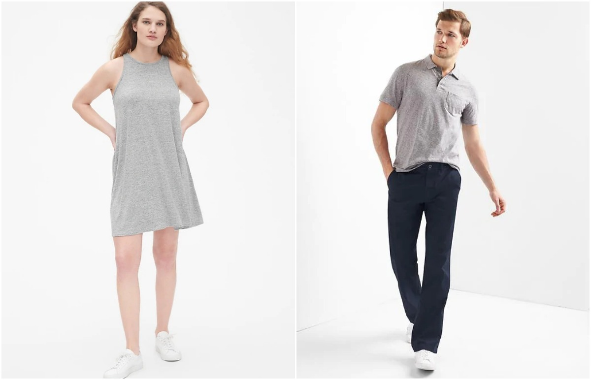 woman in gray tank dress and man in gray shirt and black pants