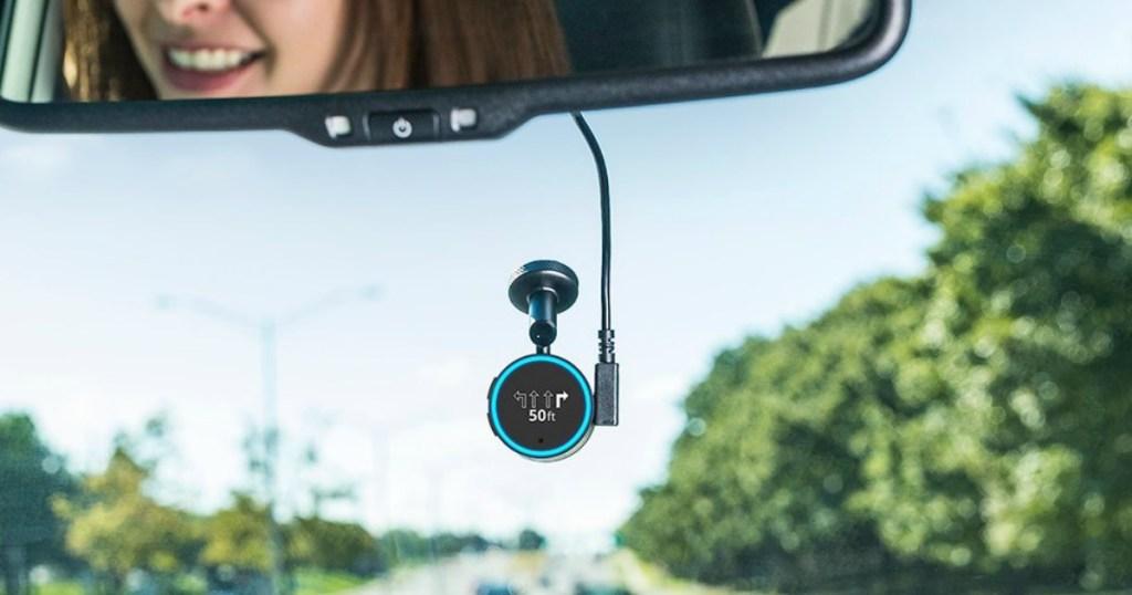 Voice activated GPS on windshield below mirror