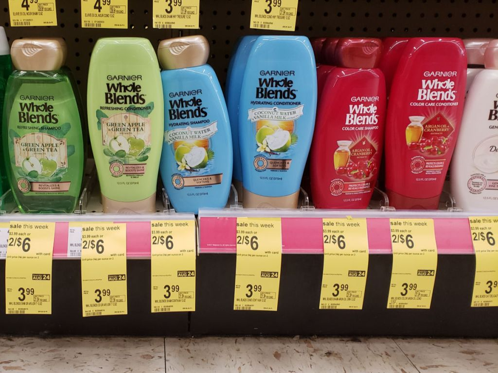 Garnier Whole Blends Shampoo or conditioner on shelf at Walgreens