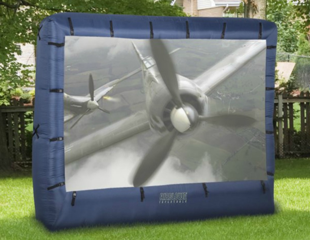 Large Inflatable Screen outdoors with airplane film showing