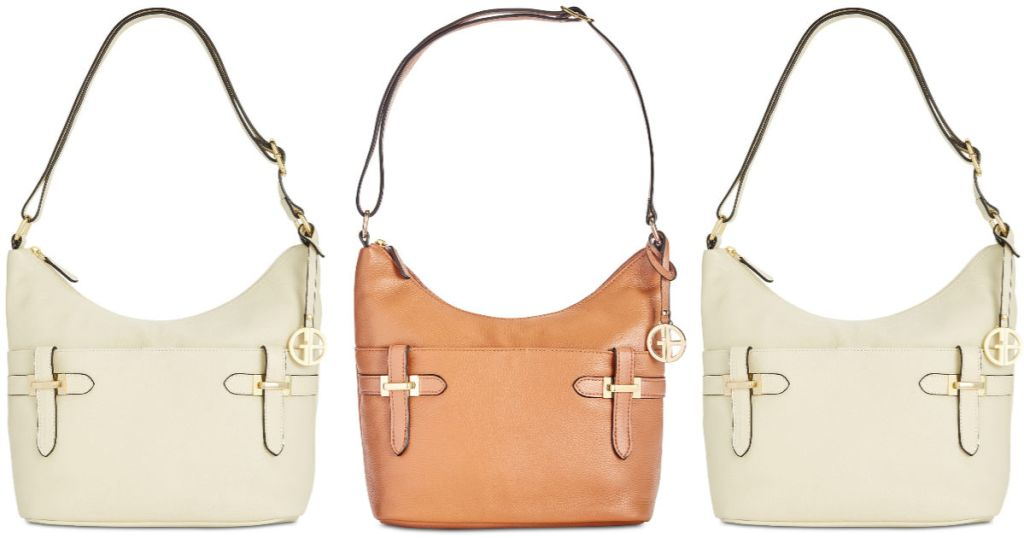 Giani Bernini Bridle Leather Hobo in Fawn/Gold and Ivory/Gold