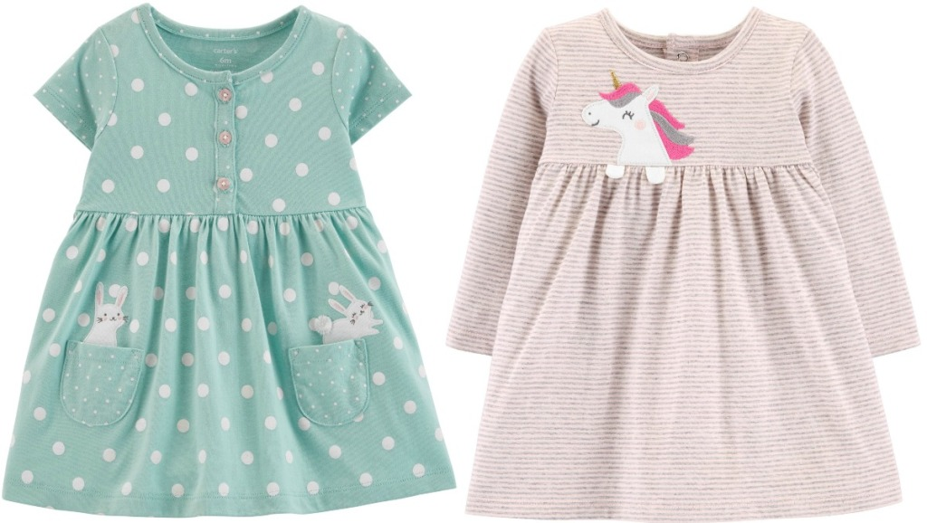 Two styles of girl's dresses from Carter's with bunnies and unicorn