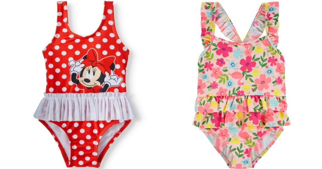 Minnie Mouse swimsuit and floral swimsuit