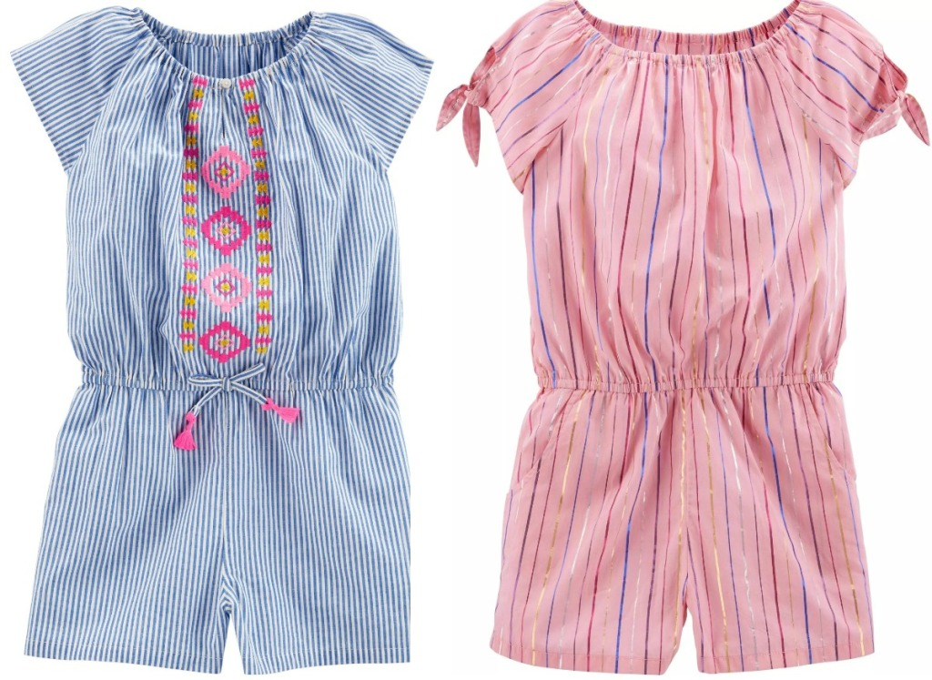 Two styles of girls rompers in blue and pink