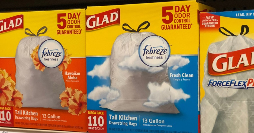 boxes of glad trash bags