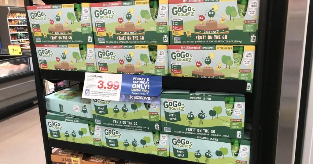 gogo squeez on shelf at kroger
