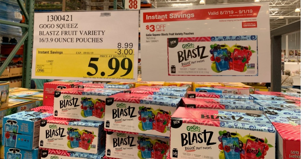 Costco sale signage of GoGo Squeez Blastz Fruit Variety Pouches