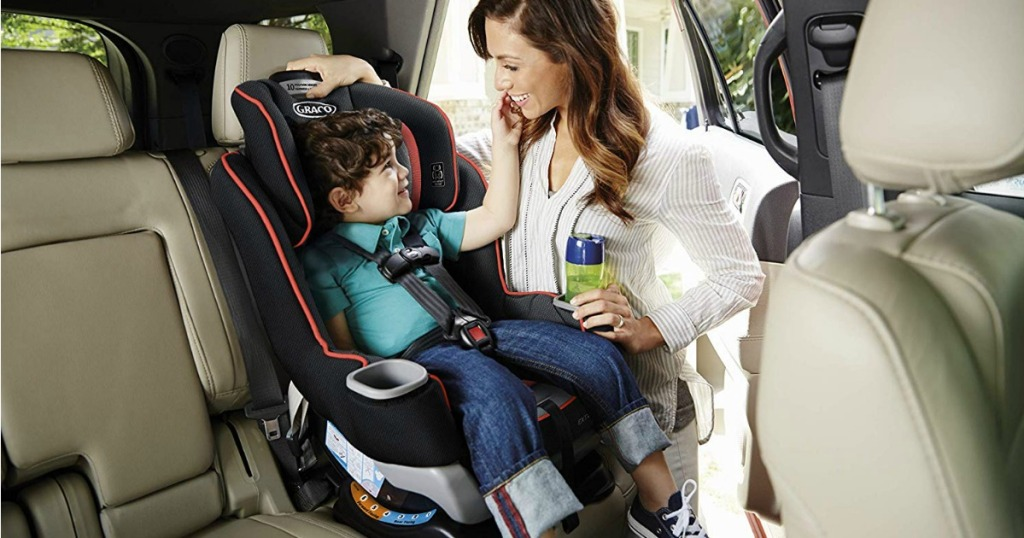 Graco Extend2Fit with large child sitting in it