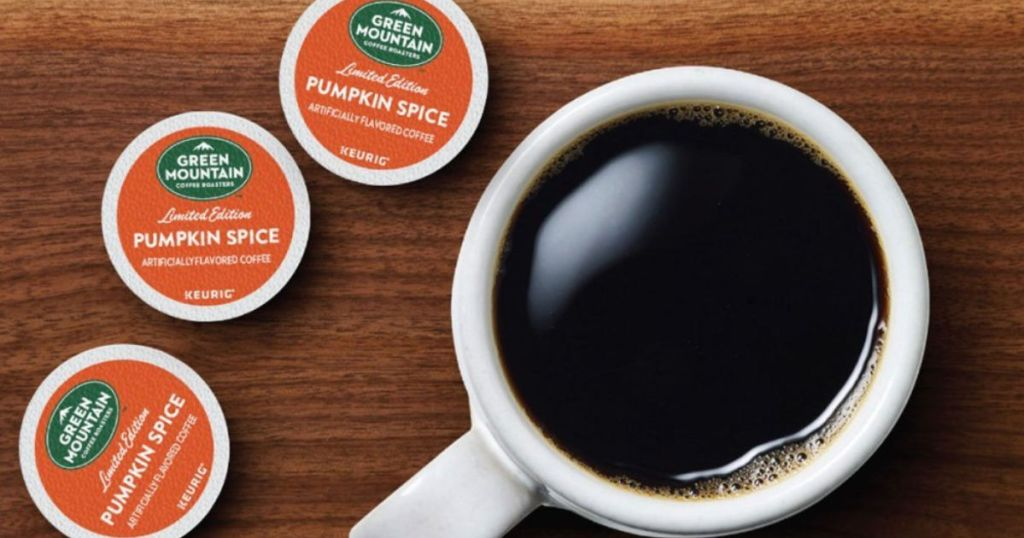Green Mountain Coffee Pumpkin Spice K-Cups with cup of coffee