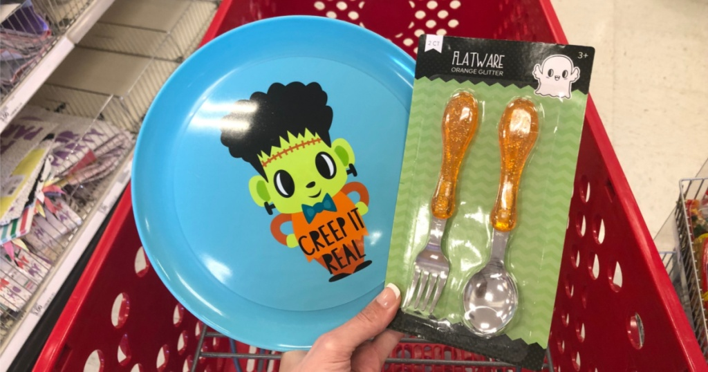 halloween kids plate and utensils at target