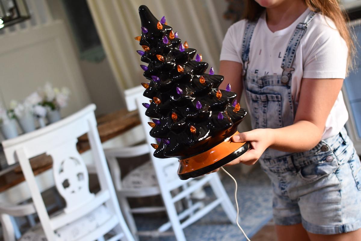 Ceramic Halloween Tree Only 35 99 Shipped Lights Up W Orange Purple Bulbs Hip2save
