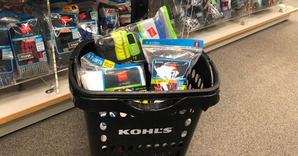 Hanes men's underwear in Kohl's shopping basket on the floor