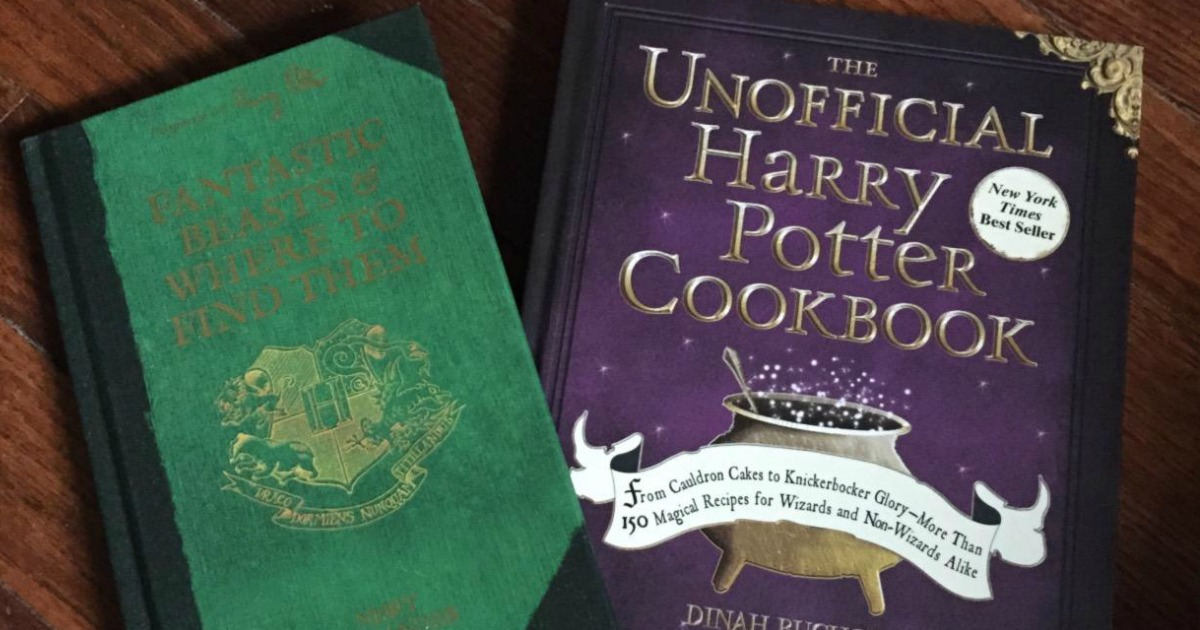 Harry Potter Cookbook next to Fantastic Beasts and Where to Find Them book