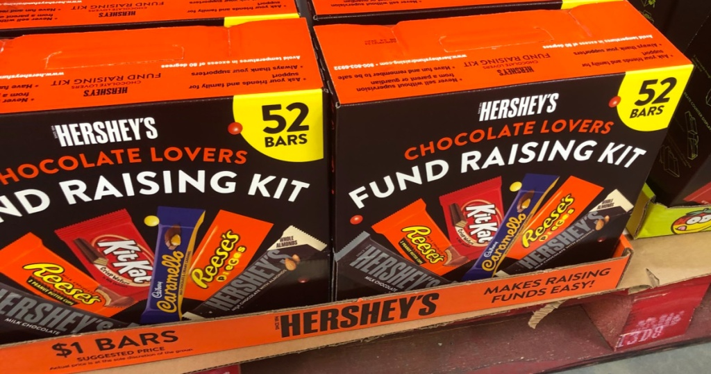 boxes of Hershey's fundraising kits at Sam's Club