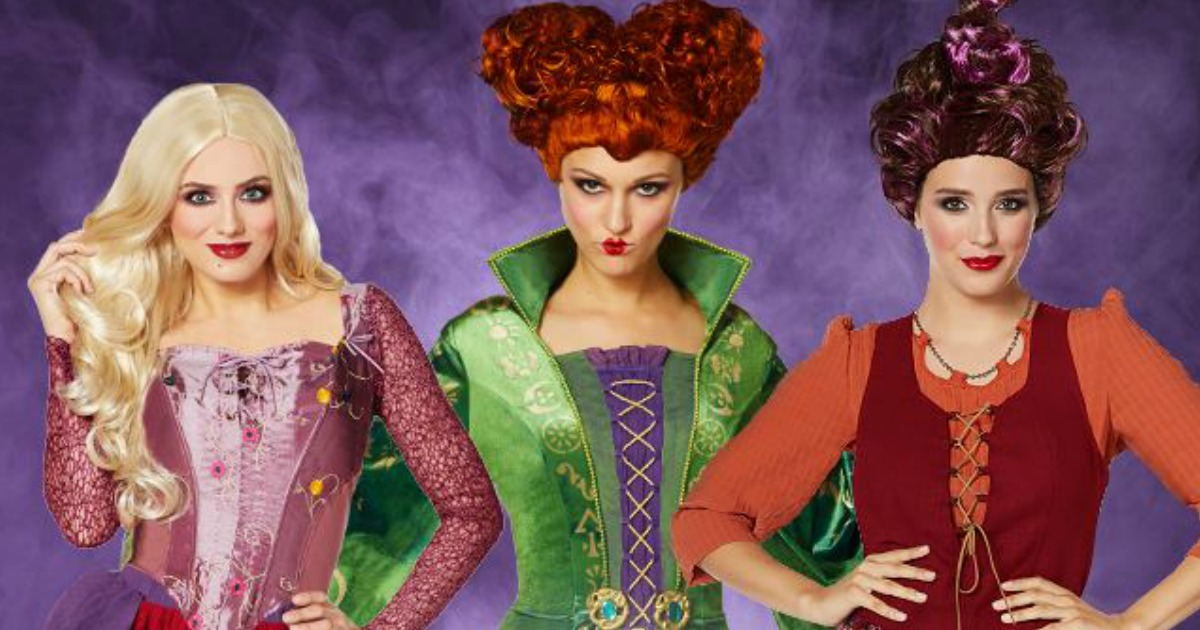 Hocus Pocus Halloween Costumes featuring Sanderson sisters