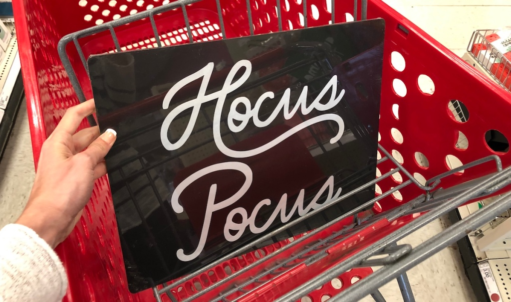 hand holding Hocus Pocus Tray in Target Cart