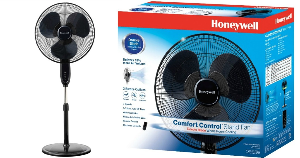 "Honeywell 16"" fan next to box"