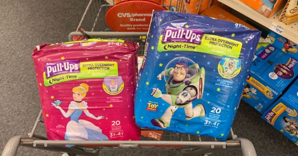 Diapers in front of basket