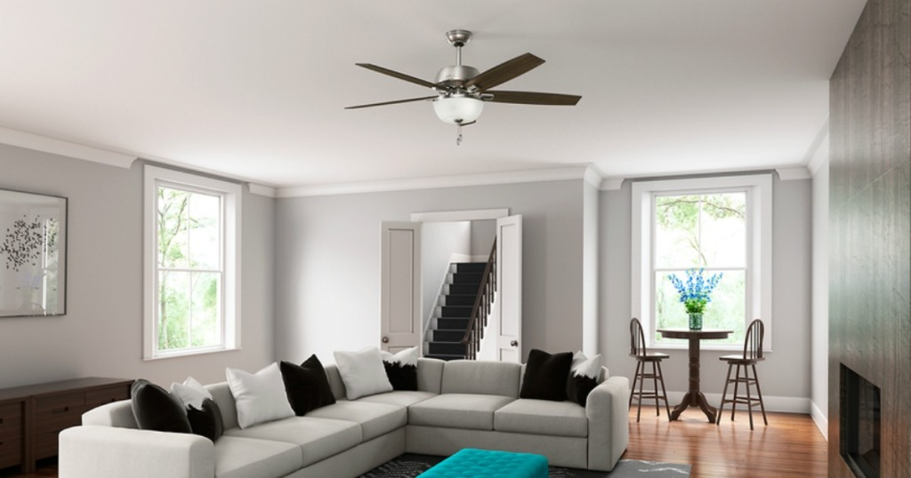 living room with ceiling fan