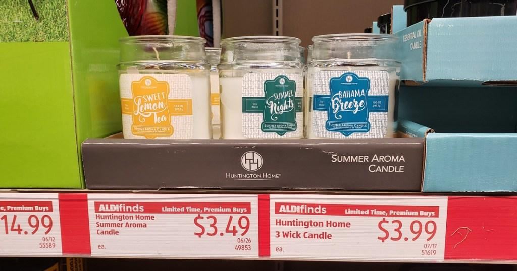 hunington home candles on shelf at aldi