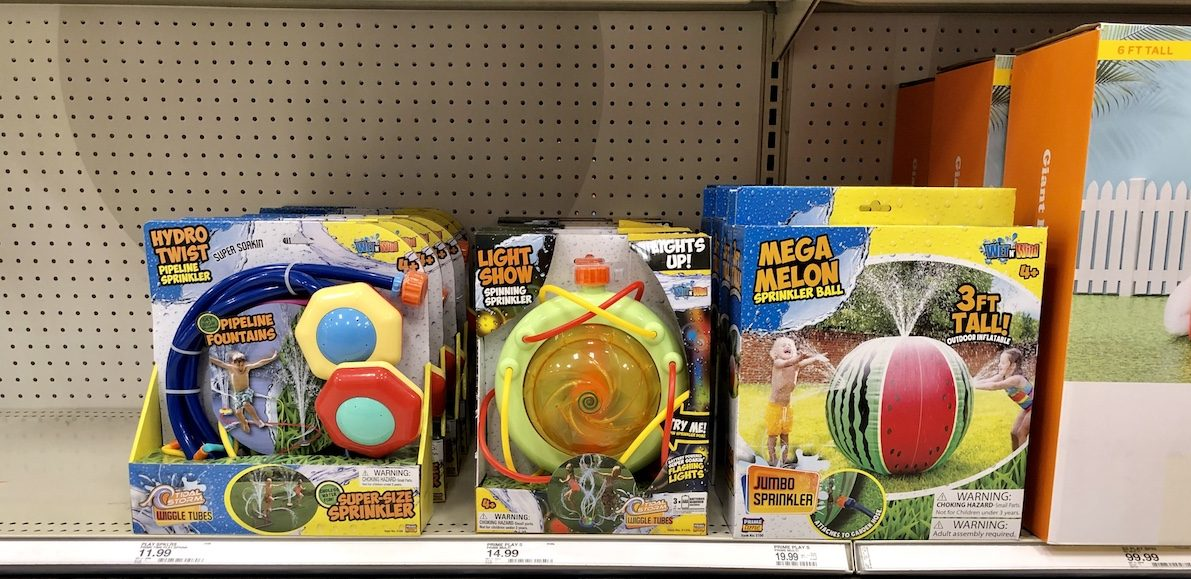 water toys on shelf in Target