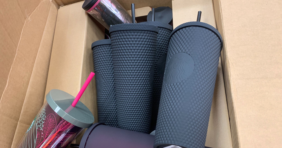 matte black tumblers from Starbucks