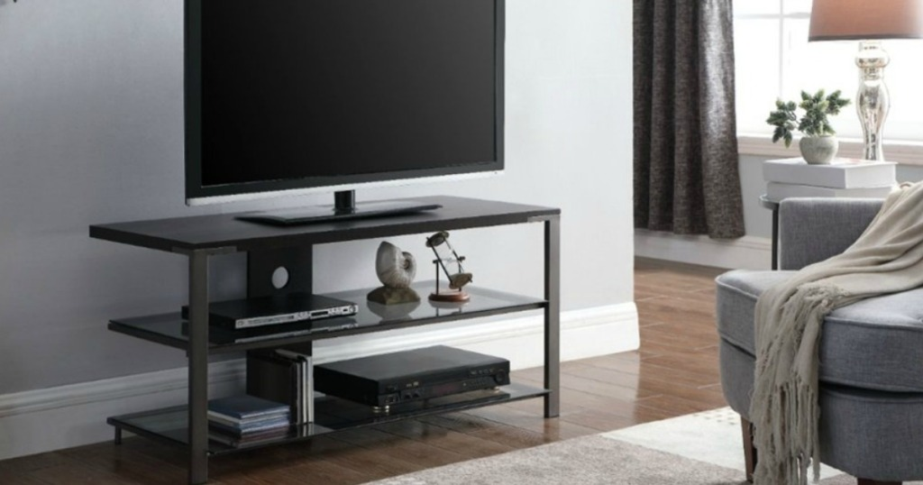 TV and stand in living room