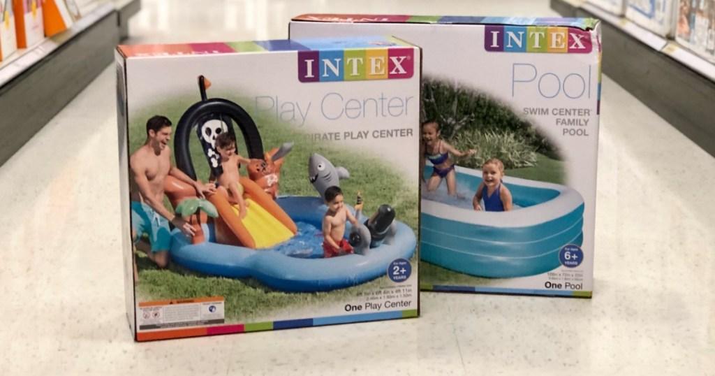 Intex items on floor at Target