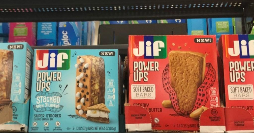 Jif Power Ups Bars on shelf at Walmart