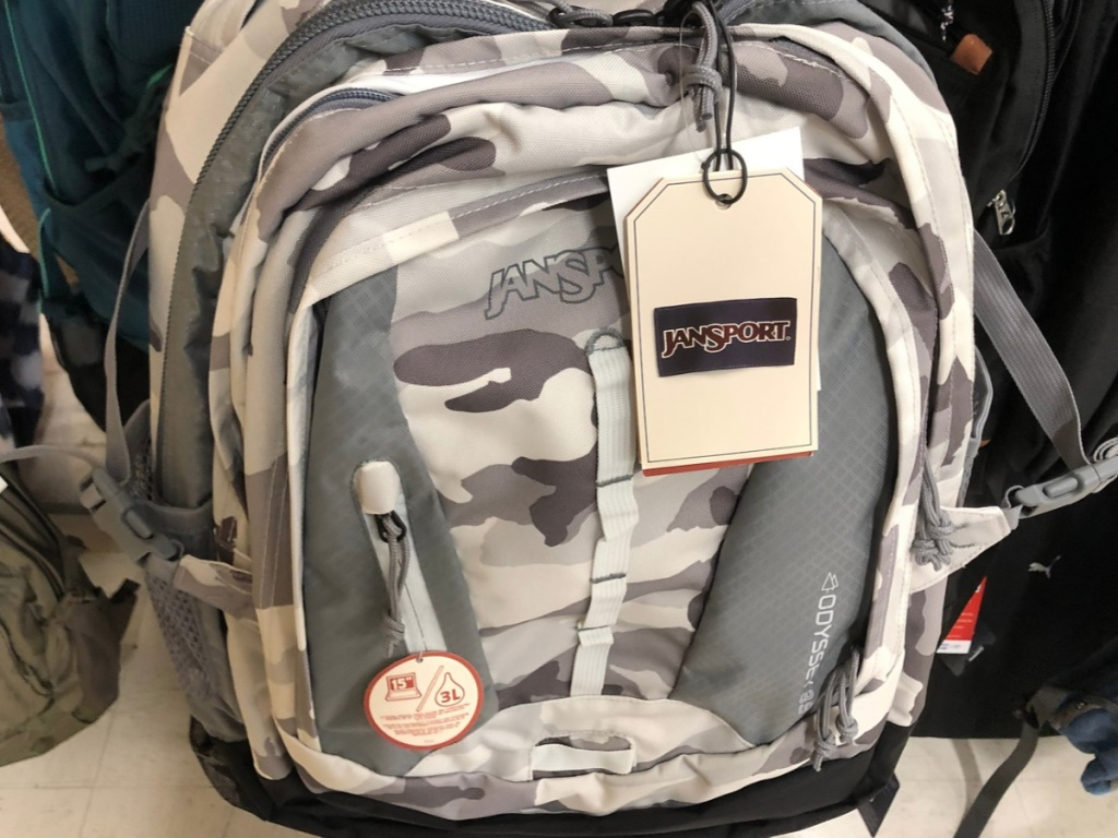 """JanSport Odyssey Backpack With 15"""" Laptop Pocket in Arctic Camo"""