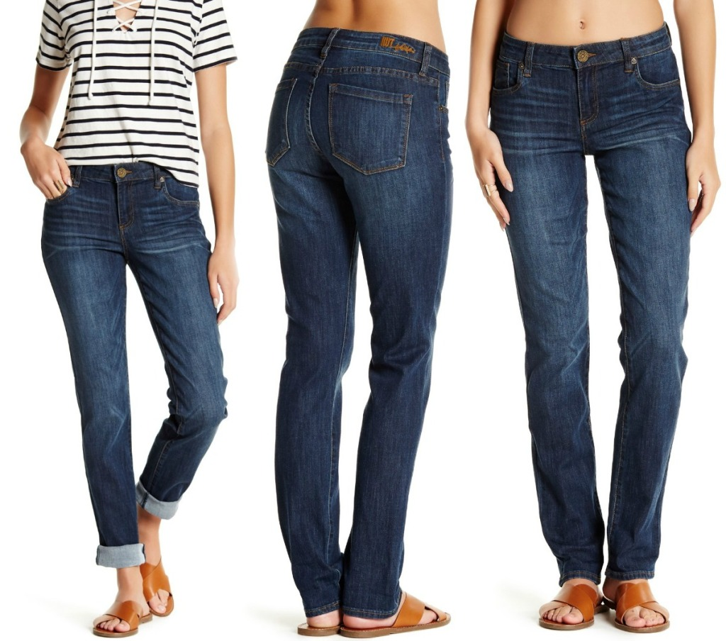 Women's denim jeans from KUT from the Kloth in a dark blue shade at three angles
