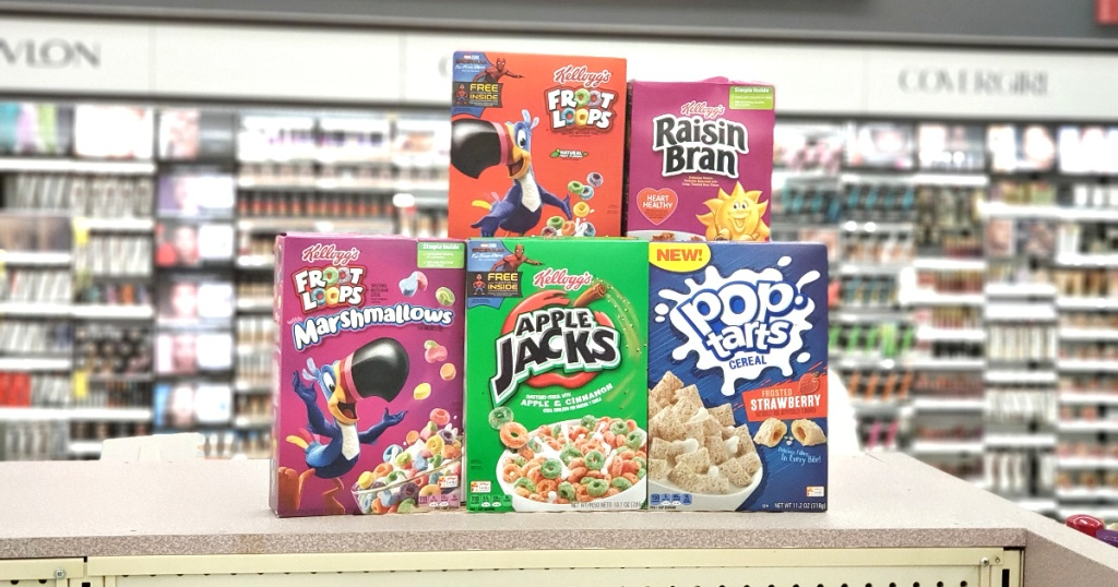 boxes of kelloggs cereal on shelf at store