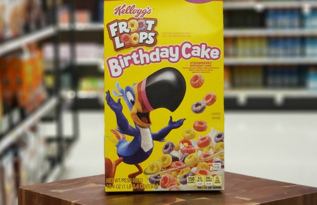 Large box of Kellogg's Froot Loops Birthday Cake Cereal in yellow box