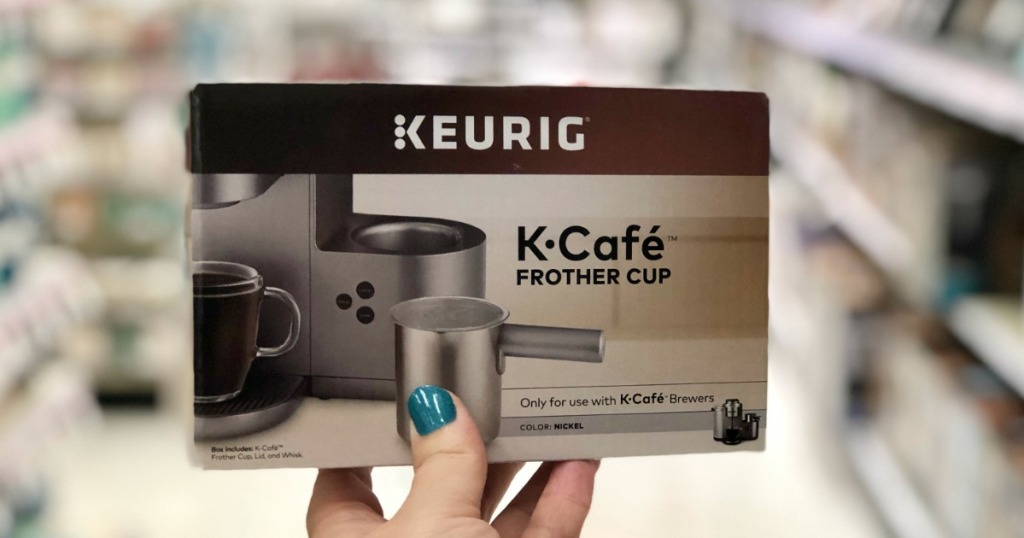 hand holding Keurig K-Cafe Frother Cup