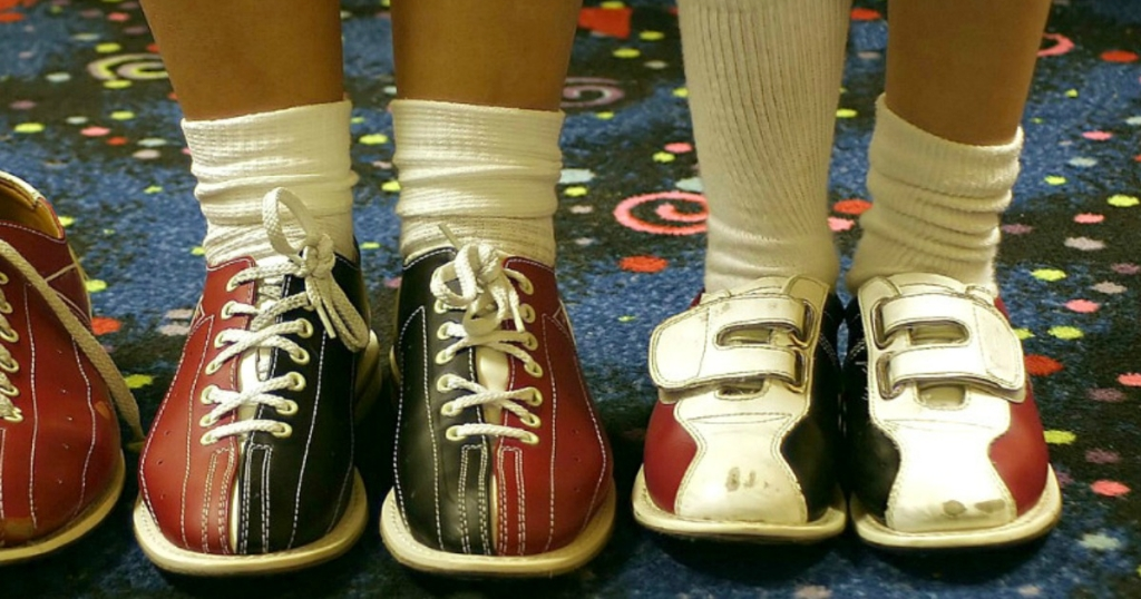 kids in bowling shoes