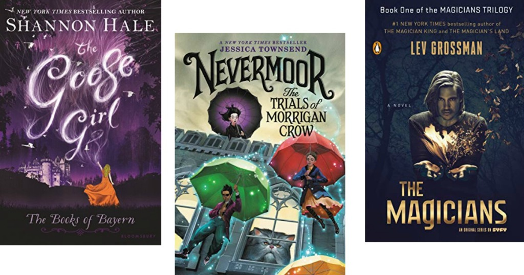 the goose girl, nevermoor and the magicians book covers