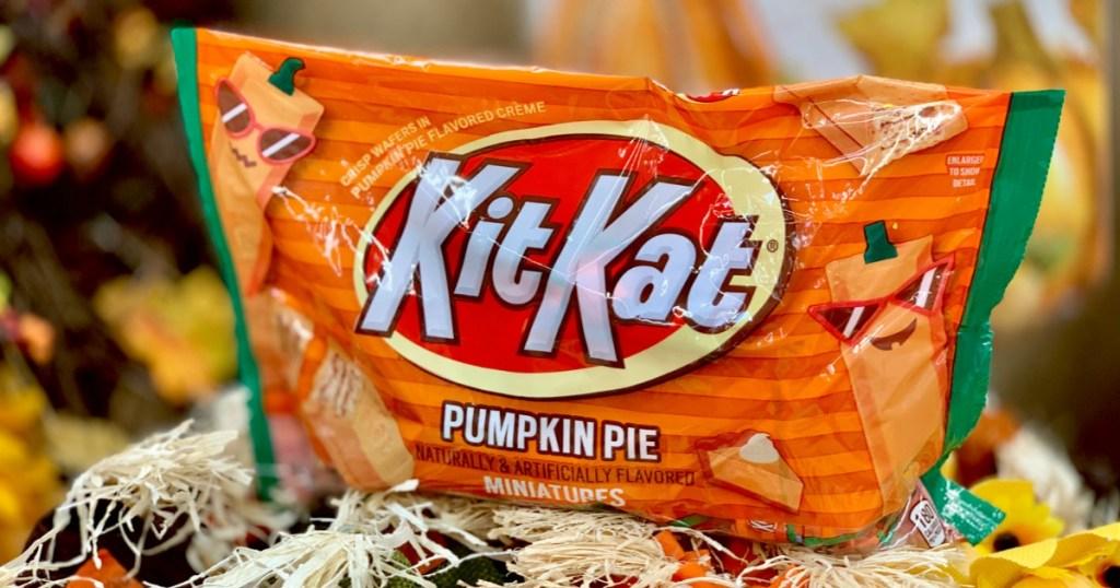 Bag of Kit Kat Pumpkin Pie on straw bale
