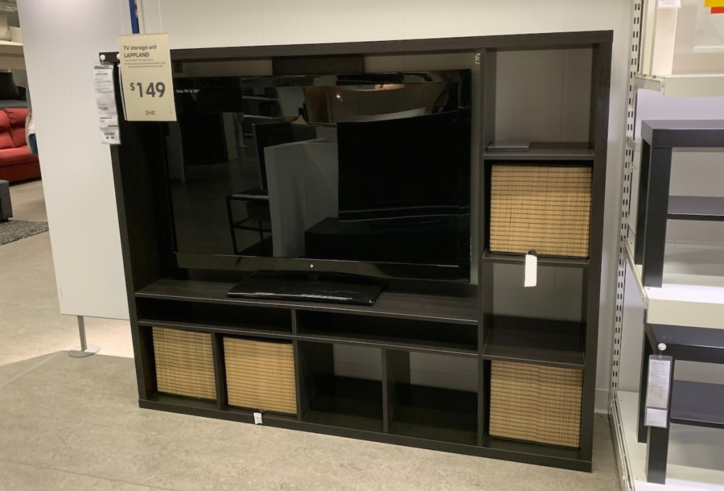 black tv storage unit with baskets in IKEA