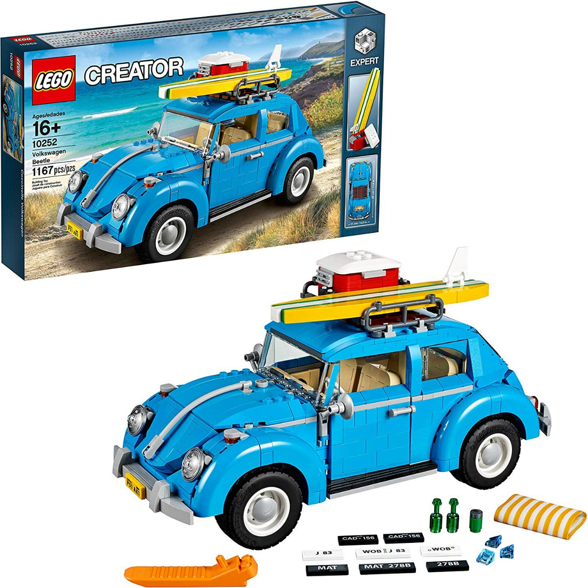 LEGO Building set of a Volkswagen Beetle near package