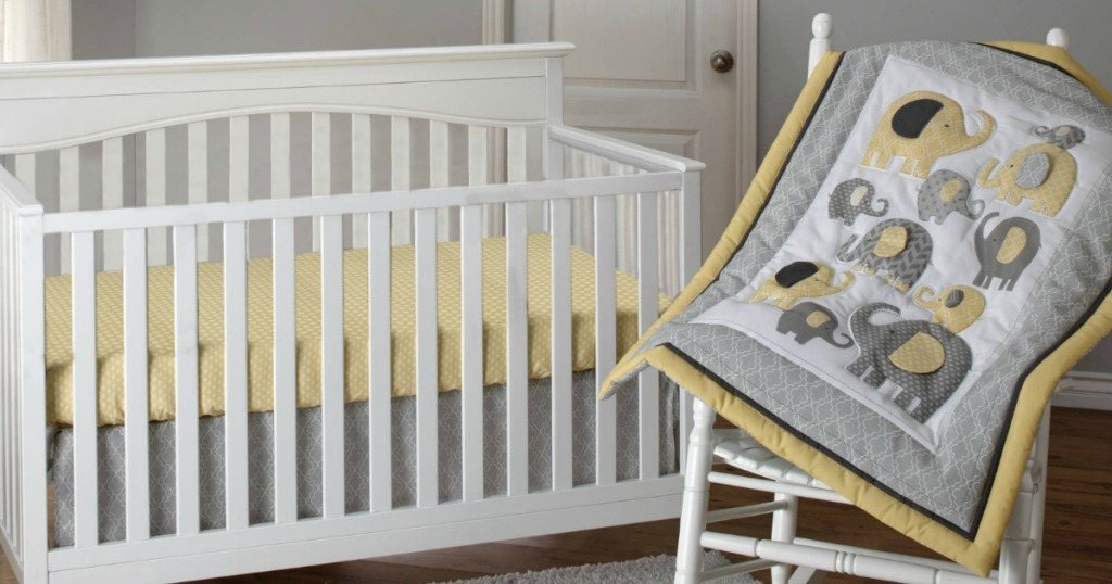 elephant crib bedding set with white nursery furniture