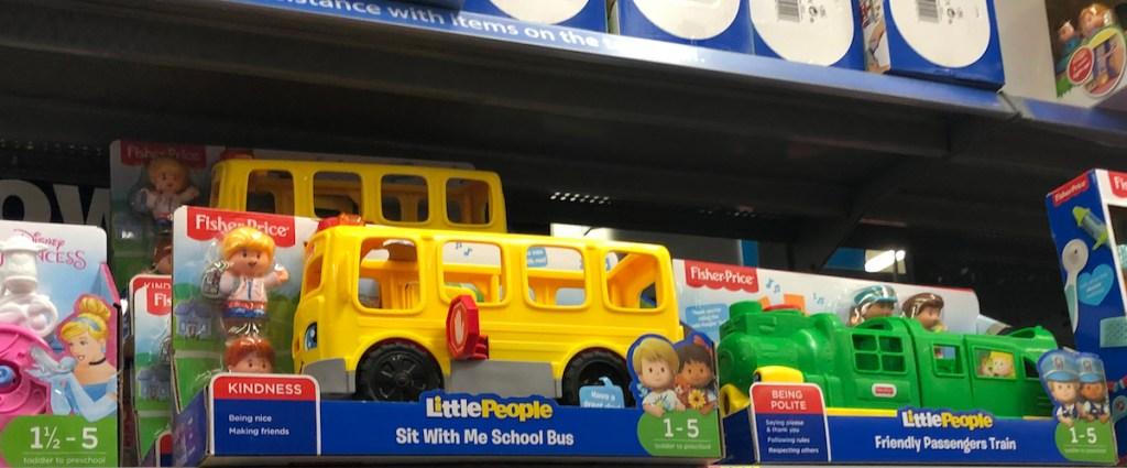 little people bus on shelf