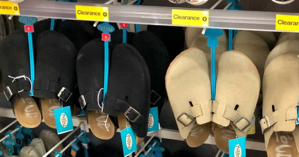 Mad Love Clogs hanging in shoe section at Target