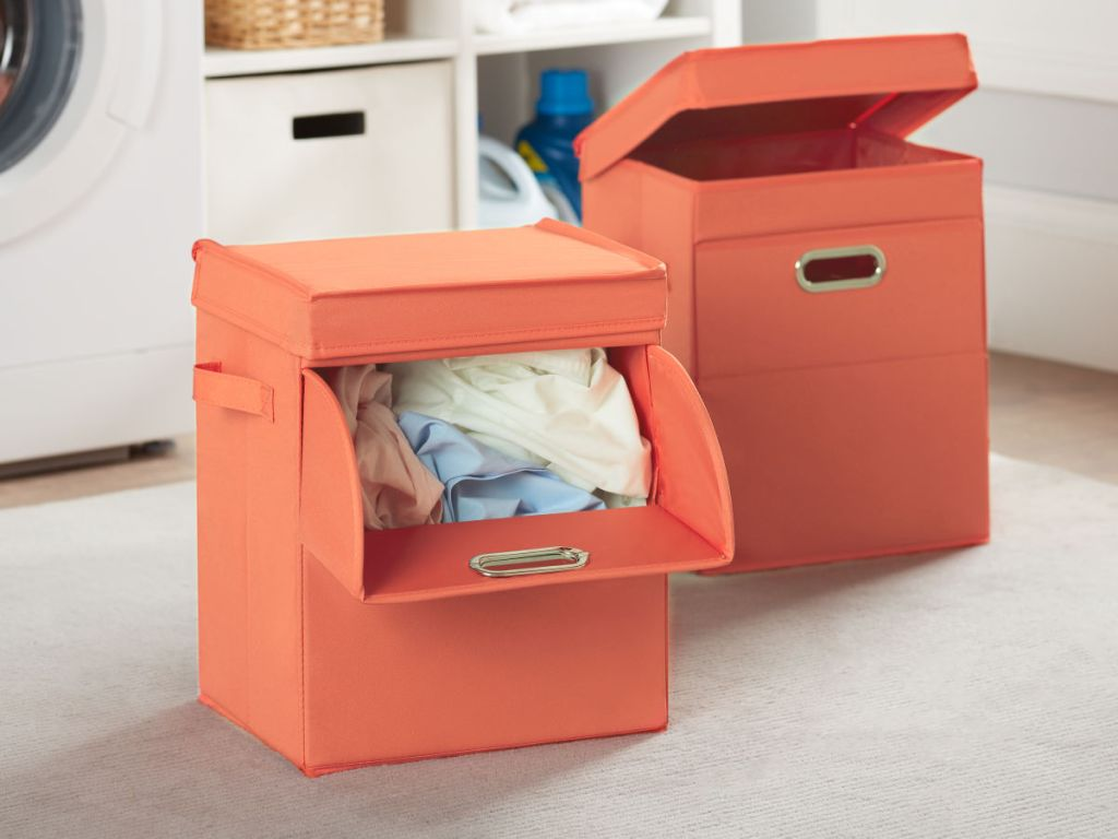 Mainstays Front Loading Stackable Small Laundry Hamper with Lid in orange 2 pack