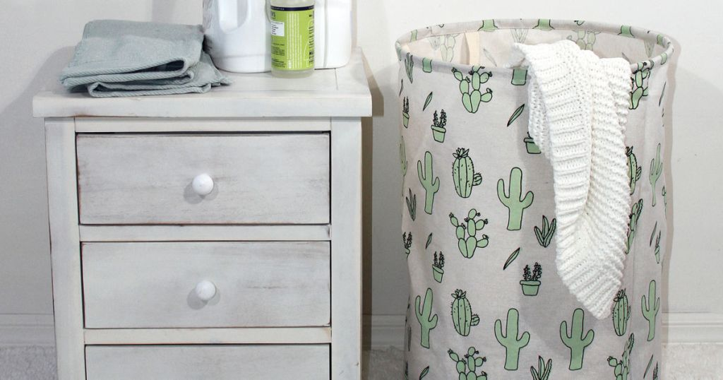 Mainstays Round Collapsible Cactus Canvas Hamper in room