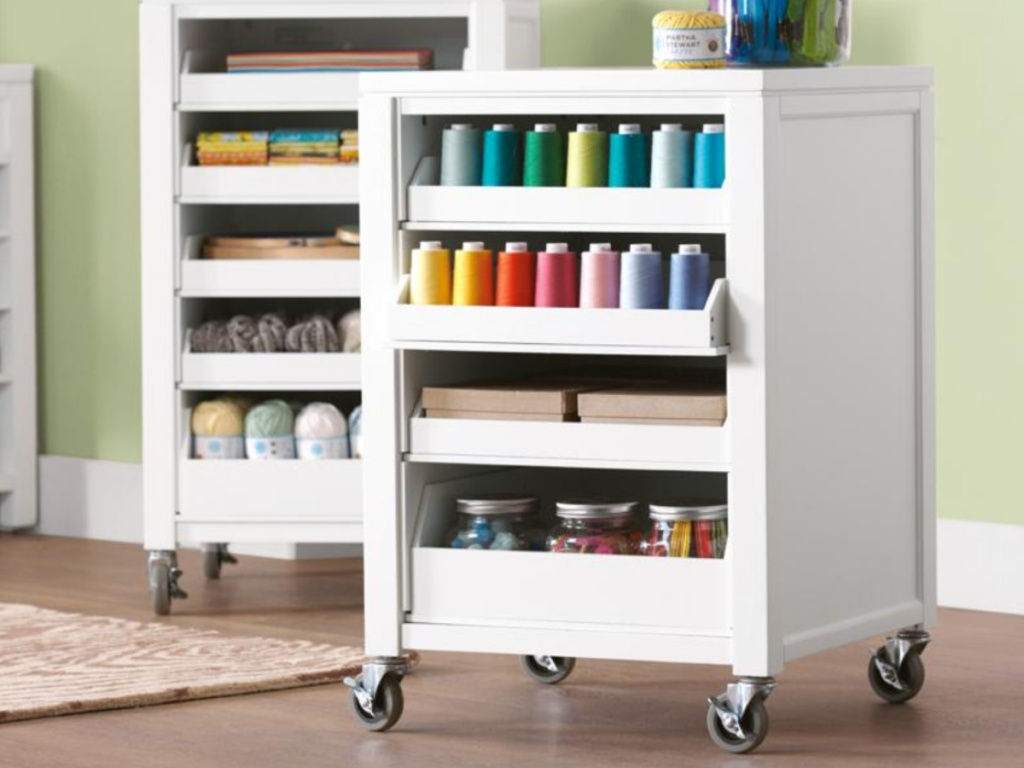 Martha Stewart Craft Space Picket Fence White Storage Cart with 5 Pull Out Trays and Casters