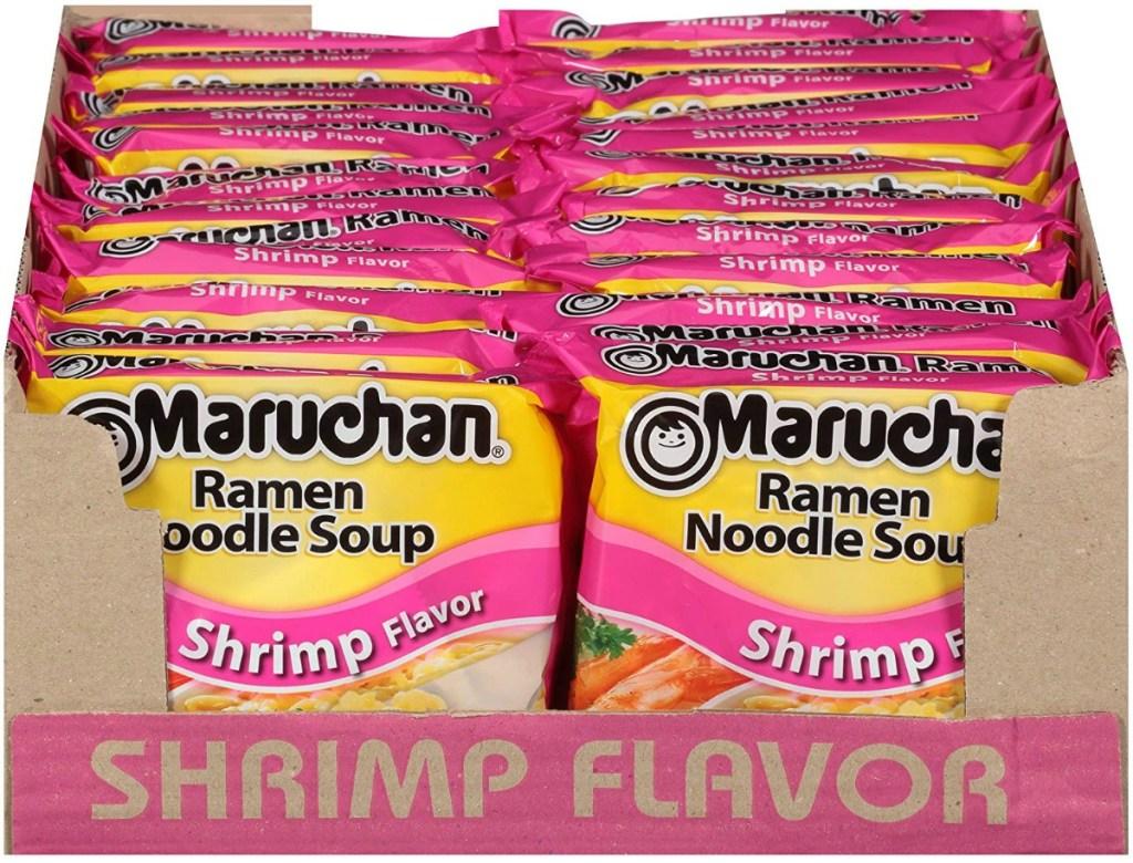 Case of Shrimp flavored Ramen noodles