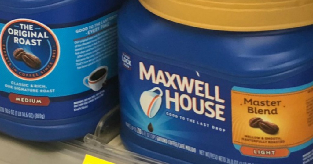Canister of Maxwell House brand light roast coffee on shelf in store